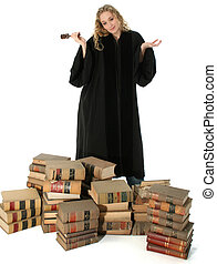 Judge Teen Woman - Pretty blonde woman judge in black robe...