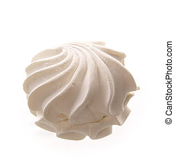 of meringues - White meringue cake on white background.