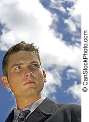 businessman and sky