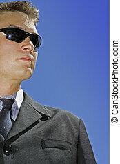 business man wearing - blue sky