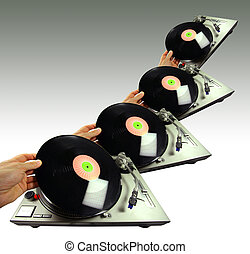 dex spin - a pattern of a hand putting a record on a...