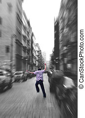 Run Away-zoom blur - black and white zoom blur - white the...