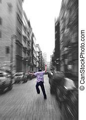Run Away-zoom blur - black and white zoom blur - white the...
