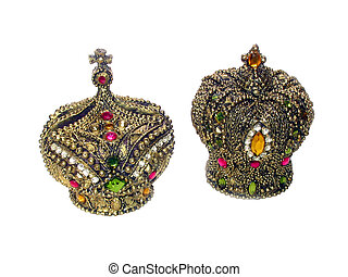 Royal Crowns - Gold, precious stone covered, King and Queen...