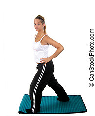 Woman Fitness Weights - Young woman working out on mat