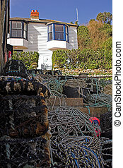 Fishermans house with lobster pots