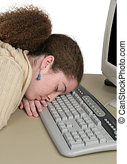 Up Late Online - A student who has fallen asleep while...