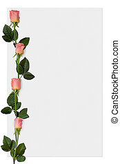 Paper 5 - Sheet of paper with pink roses, love letter...