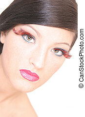 Girl in high key - Beautiful girl with big lashes in high...