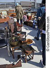 Flea market - Assorted secondhand items at open air sale,...