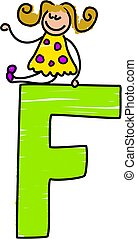 letter F girl - little girl sitting ontop of letter F