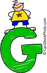 letter G boy - little boy climbing on letter G