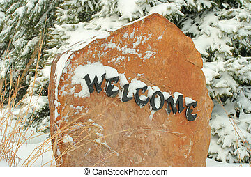 Welcome rock at entrance to Bottle Creek Retreat, Beatrice,...