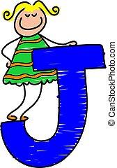 letter J girl - little girl standing on letter J