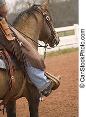 Cowboy Up - Mounted cowboy and horse wait there turn for...