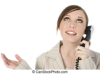 Woman Phone - Beautiful young woman speaking on telephone....