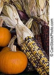 Fall Arrangement 1 - Fall Arrangement. Corn and Pumpkins.