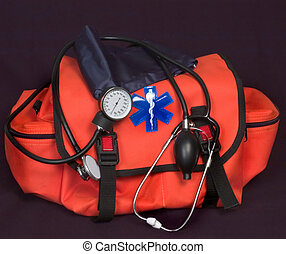 EMT - First aid bag with Life Star, stethoscope and blood...