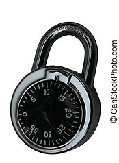 Hardened Lock - Steel Lock with Star Dial. Isolated:...
