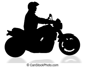 isolated biker with clipping path