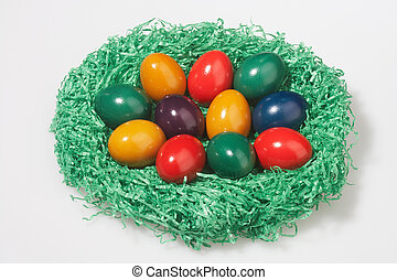 easter basket - Easter basket with different coloured eggs...