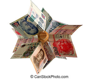 Money On Tree - Major asian currencies arranged on a wooden...