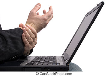 Business man with RSI - A business man holding his hands...