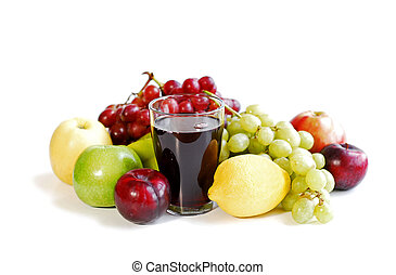 Assorted fruits on white - Assorted fruits and a glass of...