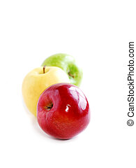 Three apples on white background in perspective: green,...