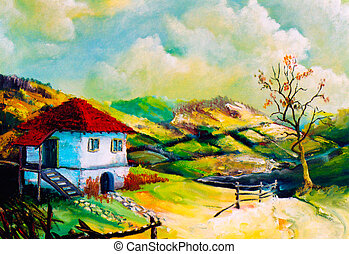 Imagination rural landscapes - Autumnal imagination scene -...