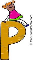 letter P girl - little girl sitting on letter P