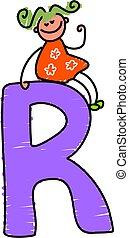 letter R girl - little girl sitting on a letter R