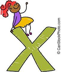 letter X girl - little girl sitting on a letter X - toddler...