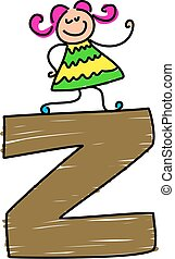 letter Z girl - little toddler standing on a letter Z