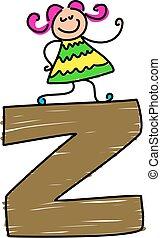 letter Z girl - little toddler standing on a letter Z