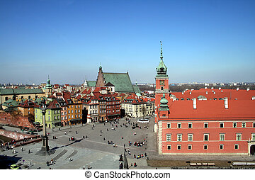 Old Town Warsaw - View of the Old Town in Warsaw from the...