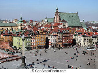 Old Town in Warsaw - View of the Old Town in Warsaw from the...
