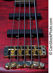 bass guitar fretts - Closeup of five string bass guitar