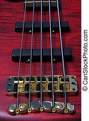 bass guitar fretts - Closeup of five string bass guitar