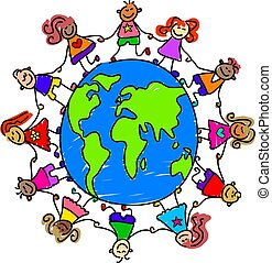 world kids - diverse kids holding hands around the world