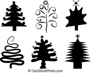 Christmas trees - Christmas tree silhouettes in funky styles