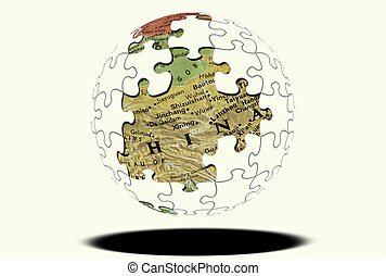 Puzzle Globe - Puzzle Sphere with Map Showing THrough...