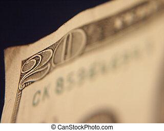 US Twenty - Selective focus of $20 US
