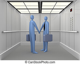 Elevator #1 - 3d people shaking hands inside a company...