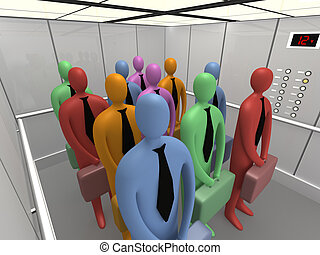 Elevator #4 - 3d people inside a company elevator.