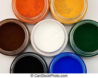 Powder pigments - Top view of natural earth pigments pots