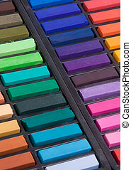 Soft pastels close up - Soft pastels in a box (close up)