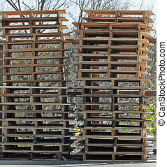 Pallets - Stack of wooden shipping pallets