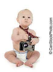Baby Photographer - Adorable 10 month old baby boy in diaper...