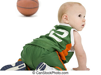 Basket Ball Baby - Adorable 10 month old baby boy in basket...